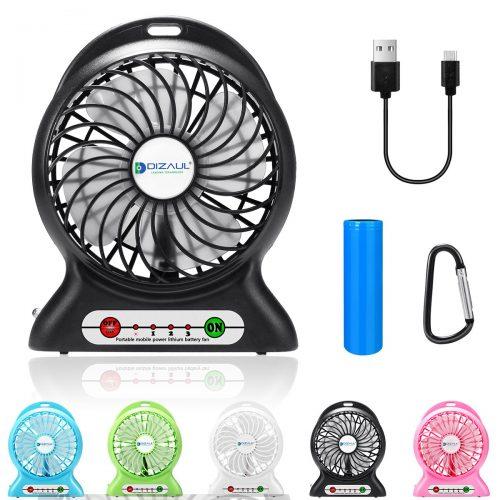 Ventilador portátil dizauL, mini ventilador recargable USB con 2600 mAh con pilas y luz de destello