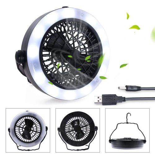 Ventilador de camping KEIMIX con luces, alimentado por USB o con pilas
