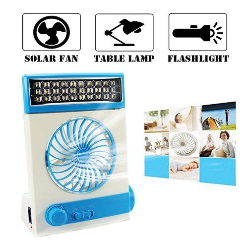 Ventilador solar Ansee Ventilador para acampar Ventiladores de mesa de enfriamiento 3 en 1 Multifunción