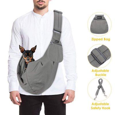 SlowTon Pet Carrier, Hand Free Sling Correa acolchada ajustable Bolsa de asas Algodón transpirable