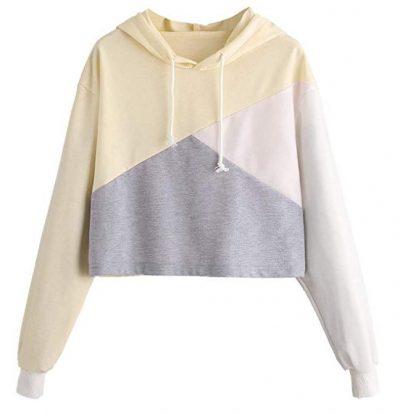 Romwe Cute Color Block Pullover Crop Top Sudadera con capucha para mujer