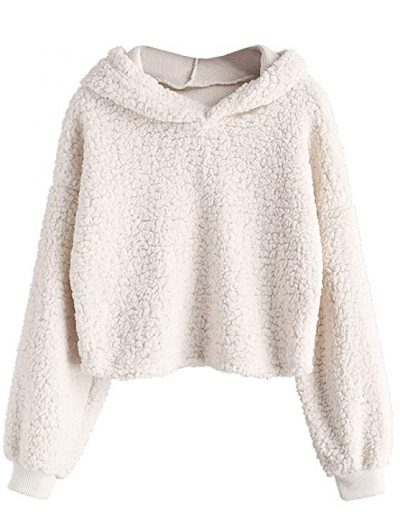 ZAFUL Mujeres Crop Hoodies Fluffy Boxy Color sólido Jersey corto