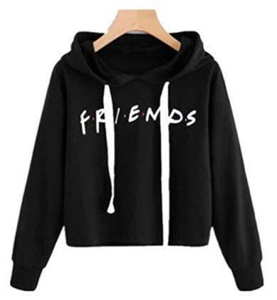 LHAYY Friends Mujer Chica Casual Crop Top suelto Algodón Amigos Letras Imprimir Pullover Camisa de manga larga