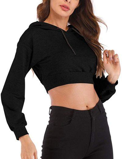 Sudaderas con capucha para mujer Sudadera de moda de manga larga Crop Tops Pullover Camisetas sueltas