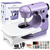 Jeteven Mini máquina de coser eléctrica, máquina de coser de mano para el hogar, máquina de coser ligera y portátil para principiantes, niños, manualidades, viajes, reparaciones rápidas y pequeños proyectos
