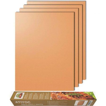 Atiyoc - lámina de cobre para barbacoa, juego de 4 alfombrillas para hornear antiadherentes y resistentes al calor para carbón