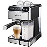 Máquina de café espresso AICOOK, cafetera espresso Barista con pantalla digital de un toque, bomba de 15 bares y espumador de leche automático, máquina de capuchino, máquina de café con leche