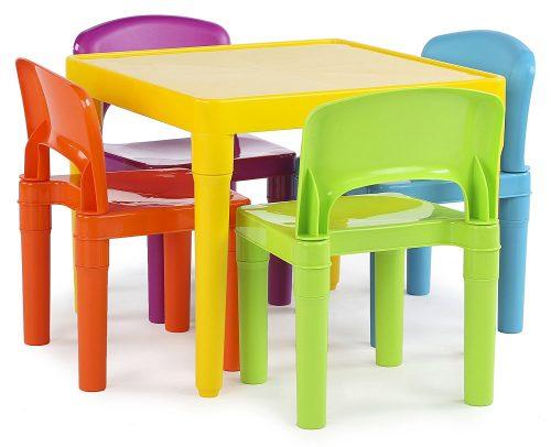 Tot Tutors - Juego de mesa de plástico para niños y 4 sillas, colores vibrantes