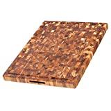 Tabla de cortar de teca - rectangular con canal de jugo y agarraderas (24 x 18 x 1,5 pulg.) - Por Teakhaus