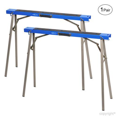 HICO 2-Pack Sawhorse Soportes de metal plegables Bases móviles Soportes Patas plegables completamente ensambladas para trabajo pesado Paquete doble
