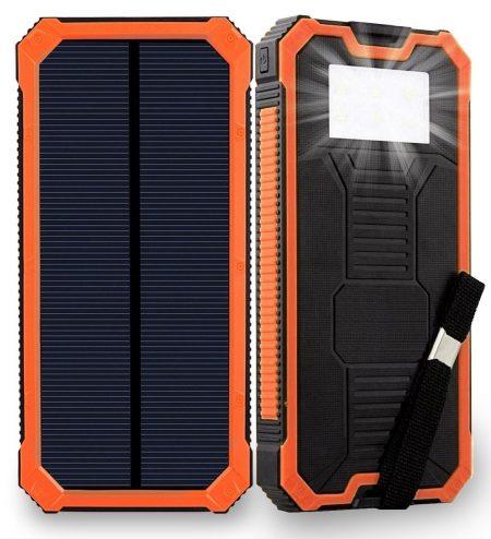 Cargador solar Friengood 15000mAh Banco de energía solar portátil Puertos USB dobles