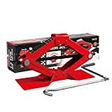 BIG RED T10152 Torin - Kit de coche con elevador de tijera de acero, capacidad de 1,5 toneladas (3000 lb), rojo