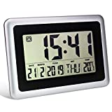 Reloj despertador digital para dormitorio, reloj de pared LCD electrónico grande y silencioso, reloj de día de escritorio moderno a pilas con temperatura y fecha para oficina, cocina, decoración de sala de estar para personas que duermen mucho