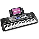 Teclado electrónico portátil RockJam de 54 teclas con pantalla LCD interactiva e incluye la aplicación Maestro Piano Teaching con 30 canciones