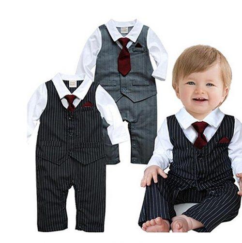 EGELEXY Baby Tie Chaleco a rayas Ropa formal Boda Baby Boy Romper Oneise