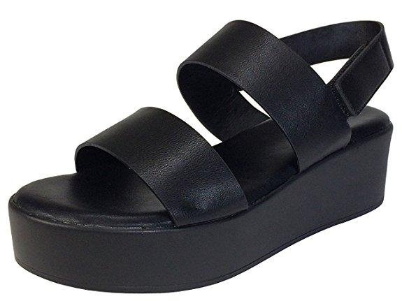 Sandalia de cama con plataforma de doble banda de bambú y zapatos de plataforma con correa en el tobillo