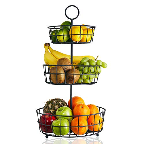 Plata Frutero de 2 Pisos de Metal Warmiehomy Cesta de Frutas Cesta para Verduras y Frutas Organizador Cocina Fruteros de Cocina para Mostrador